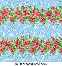 bleu, roses, seamless