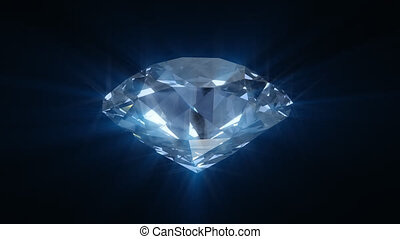 bleu, rotation, diamant, briller