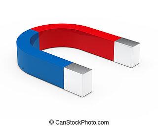 bleu, rouges, 3d, aimant