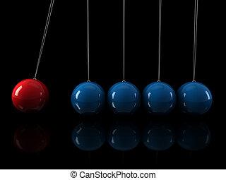 bleu, rouges, pendule, 3d