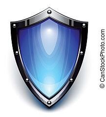 bleu, sécurité, bouclier