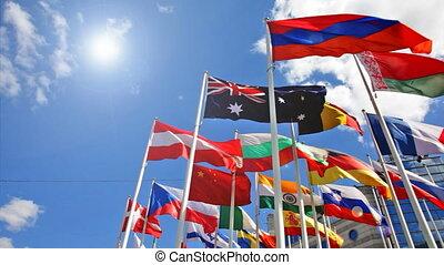 bleu, s, drapeaux, fond