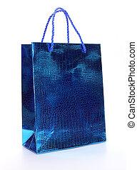 bleu, sac, blanc, achats, luxe