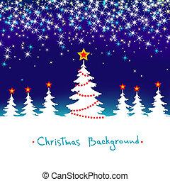 bleu, saisonnier, hiver, résumé, arbre, fond, vecteur, forêt, étoiles, noël blanc