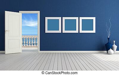 bleu, salle, été