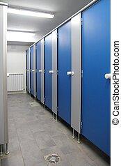 bleu, salle bains, couloir, modèle, intérieur, portes
