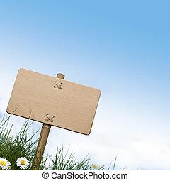 bleu, salle, bois, texte, sommet, ciel, signe, fleurs, vert, vide, herbe, pâquerettes