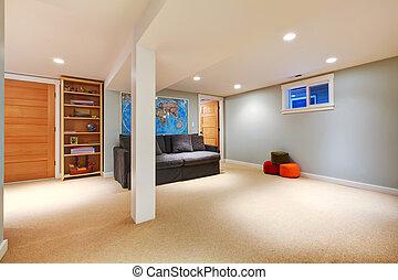 bleu, salle de séjour, sofa., grand, sous-sol