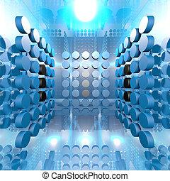 bleu, salle, numérique