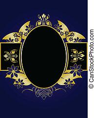 bleu, salle, or, texte, royal, conception, fond, floral, noir