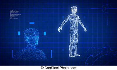 bleu, science, monde médical, futuriste, fond