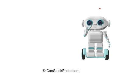 bleu, scooter, robot, écrans, animation, canal alpha, 3d