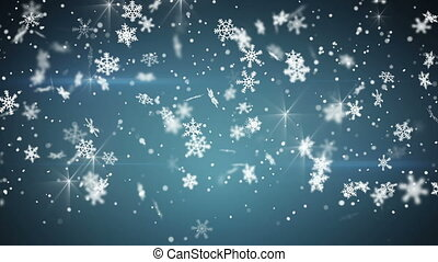 bleu, seamless, chute neige, boucle