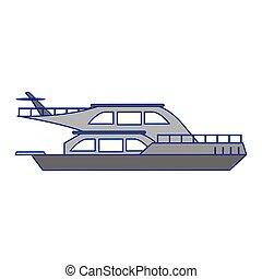 bleu, sideview, lignes, yacht, luxe, bateau, bateau