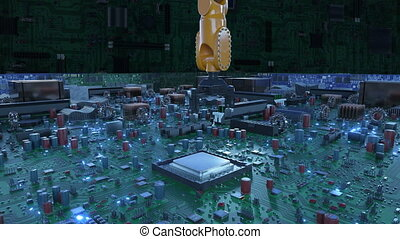 bleu, signals., carte mère, concept., unité centrale traitement, flares., robot, 4k, installation, animation, planche, circuit, numérique, processeur, technologie, bras, 3d