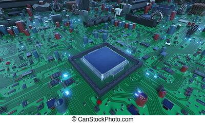 bleu, signals., hd, carte mère, concept., robotique, flares., installation, processeur, unité centrale traitement, ultra, animation, planche, circuit, numérique, 4k, technologie, bras, 3840x2160., 3d