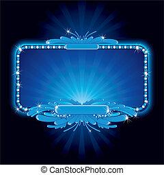 bleu, signe néon