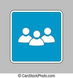 bleu, signe., travail, signe, arrière-plan., équipe, blanc, icône
