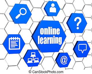 bleu, signes, ligne, hexagones, apprentissage, internet