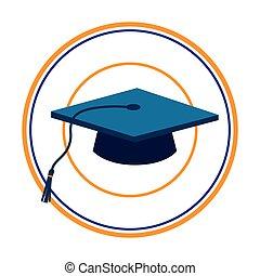 bleu, silhouette, couleur, cadre, casquette, remise de diplomes, sombre, circulaire