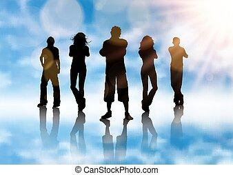 bleu, silhouette, fond, groupe, gens, ciel