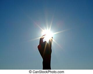 bleu, silhouette, main, soleil, ciel, clair, 2, femme