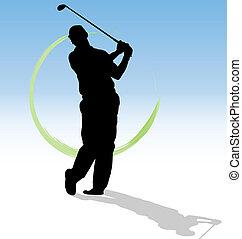 bleu, silhouette, trace, arrière-plan., vecteur, vert, golfeur