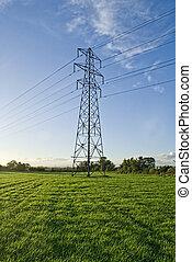 bleu, sky., électricité, champ, vert, pylône