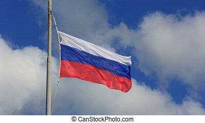 bleu, sky., national, onduler, drapeau russe, mât, russie