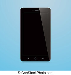 bleu, smartphone, écran, arrière-plan noir, vide