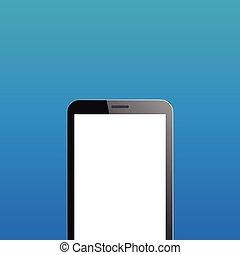 bleu, smartphone, copyspace, fond