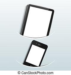 bleu, smartphone, informatique, tablette, arrière-plan., vecteur, eps10