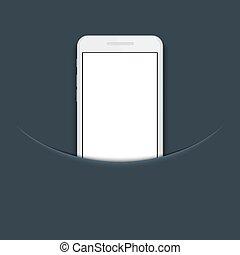 bleu, smartphone, moderne, fond, vecteur