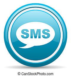 bleu, sms, lustré, fond, blanc, icône