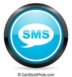 bleu, sms, lustré, fond, cercle, blanc, icône