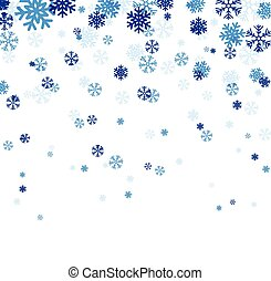bleu, snowflakes., tomber