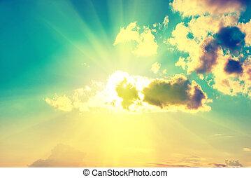 bleu, soleil, ciel, nuages