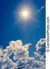bleu, soleil, clair, nuages, ciel