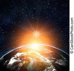 bleu, soleil, levée, la terre, espace