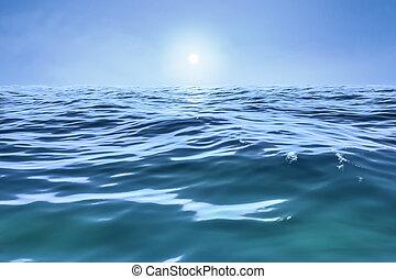 bleu, soleil, sur, horizon, océan