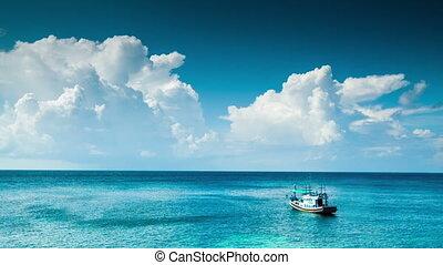 bleu, solitaire, bateau, mer