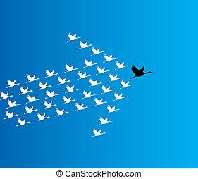 bleu, sombre, concept, plomb, voler, cygne, ciel, nombre, profond, synergie, contre, direction, illustration, fond, grand, :, cygnes, éditorial
