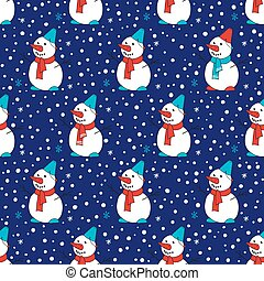 bleu, sombre, modèle, seamless, snow., fond, snowmen.