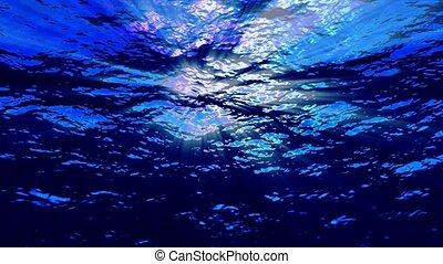 bleu, sous-marin, rayons