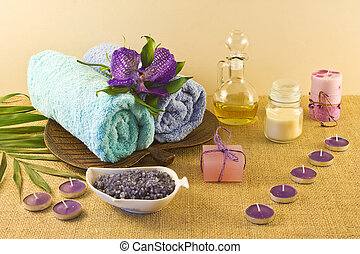 bleu, spa, couleurs, composition, violet
