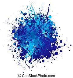 bleu, splat, encre
