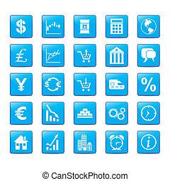 bleu, style, ensemble, icône, markets.