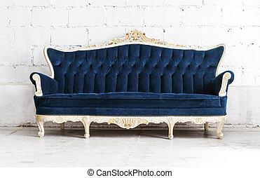 bleu, style, salle, classique, vendange, divan, sofa