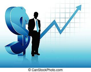 bleu, succès financier, projection, thème, homme affaires, silhouette