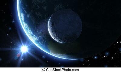 bleu, sun., light., la terre, lune